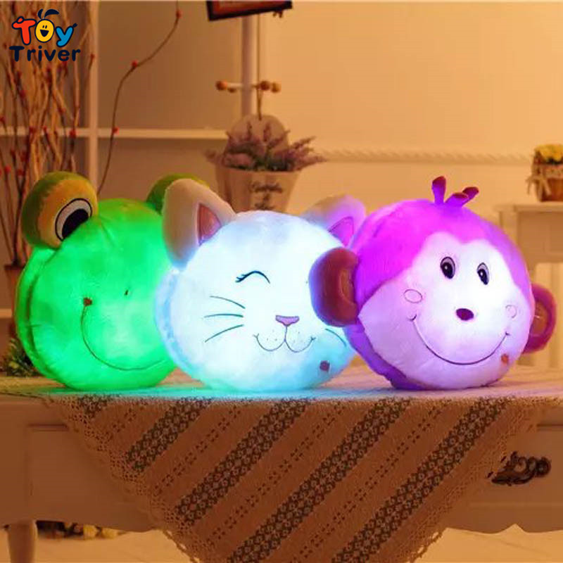 Animal Pillow That Lights Up : Glowing luminous led light up toys monkey frog cat stuffed plush toy doll cushion pillow ...