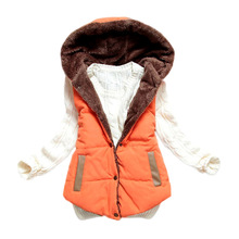 2015 new spring winter thermal down cotton with a hood vest women all-match spring&autumn plus size lamb wool women's vest(China (Mainland))