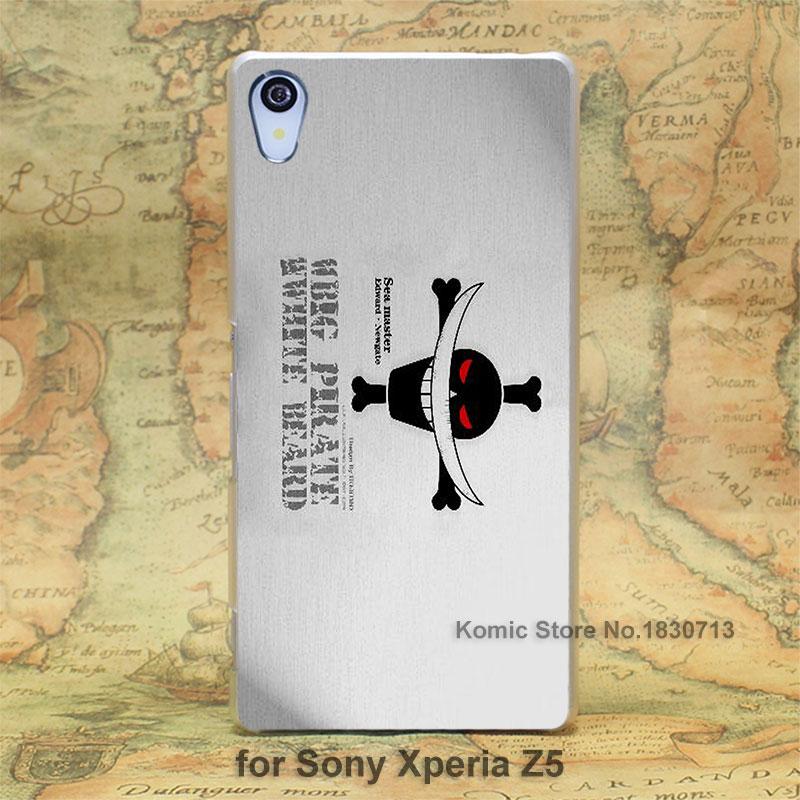 One piece Whitebeard flag hard transparent clear Skin Cover Case Sony Xperia z5 compact z5 premium z4 z3 z2 z1