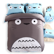 100%Cotton Girls/Boys/ Kids Totoro Bedding Sets  King Queen Size  4/3Pcs Cute Cat Owl Comforter Cover Set Bed Sheet Pillowcases(China (Mainland))