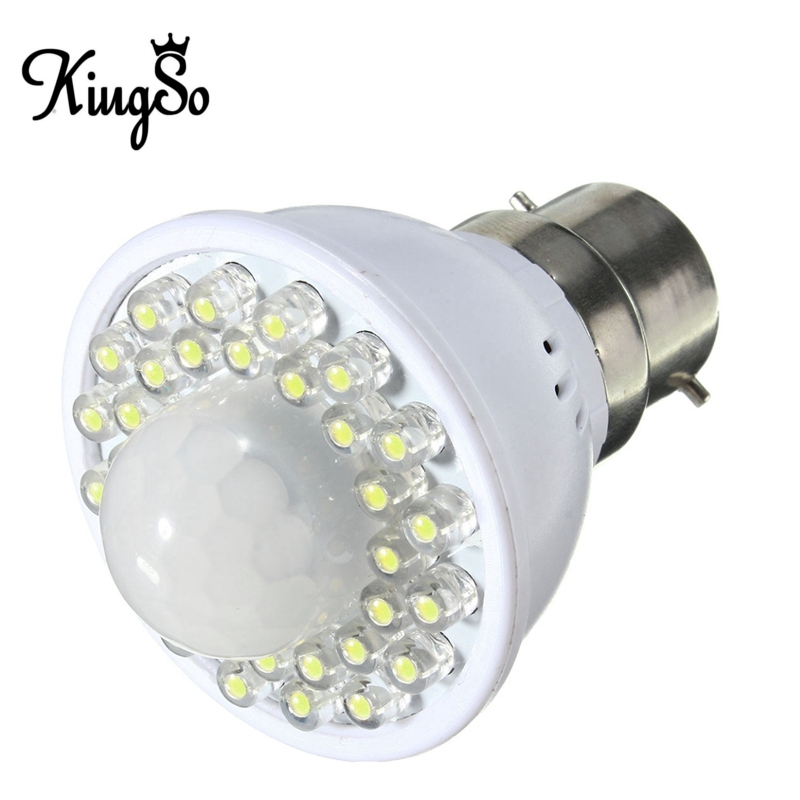 Hot Sale Kingso B22 2W 32 LED 170LM PIR Motion Control Sensor Detector Smart LED Lamp Light Bulb Pure White Warm White 220V(China (Mainland))