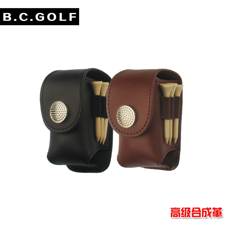 Free Shipping Mini Portable Leather Clip On Golf Ball Holder Pouch Bag Hold 2 Ball Golfer Aid Tool Gift Black(China (Mainland))