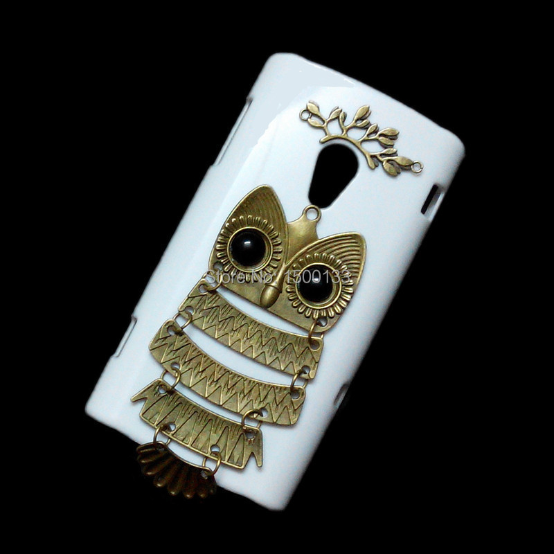 Fashion Back Hard Case For Sony Ericsson Xperia X10, Unique Handmade Cover, Retro Bronze Branch Leaves Owl Pendant Skin Shell(China (Mainland))