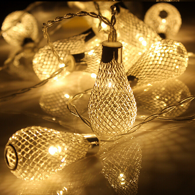 20led Battery Operation led string LED Metal Drip String Lights Patio Wedding Party Christmas ...