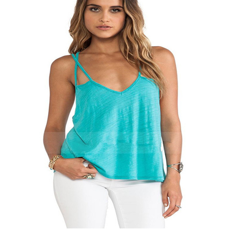 Women Sexy Halter Vest New Fashion Slim Camisole Green Tank Tops Women Sleeveless Vest Summer Stlye Straps Cross Tank Top(China (Mainland))