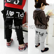 381# free shipment letter pattern autumn long pants for kids(China (Mainland))