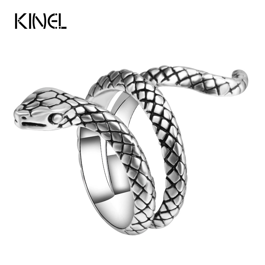 Wholesale Fashion Snake Rings Women Color Silver Heavy Metals Punk Rock Ring Vintage Animal Jewelry