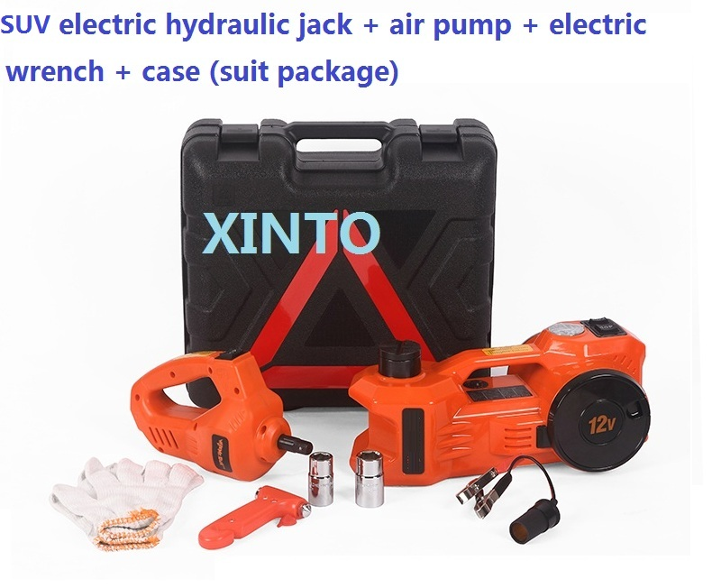 3TON 12V auto jack wtih air inflation car portable jack 12V dual-function jack set with pump electric spanner for 3T SUV(China (Mainland))