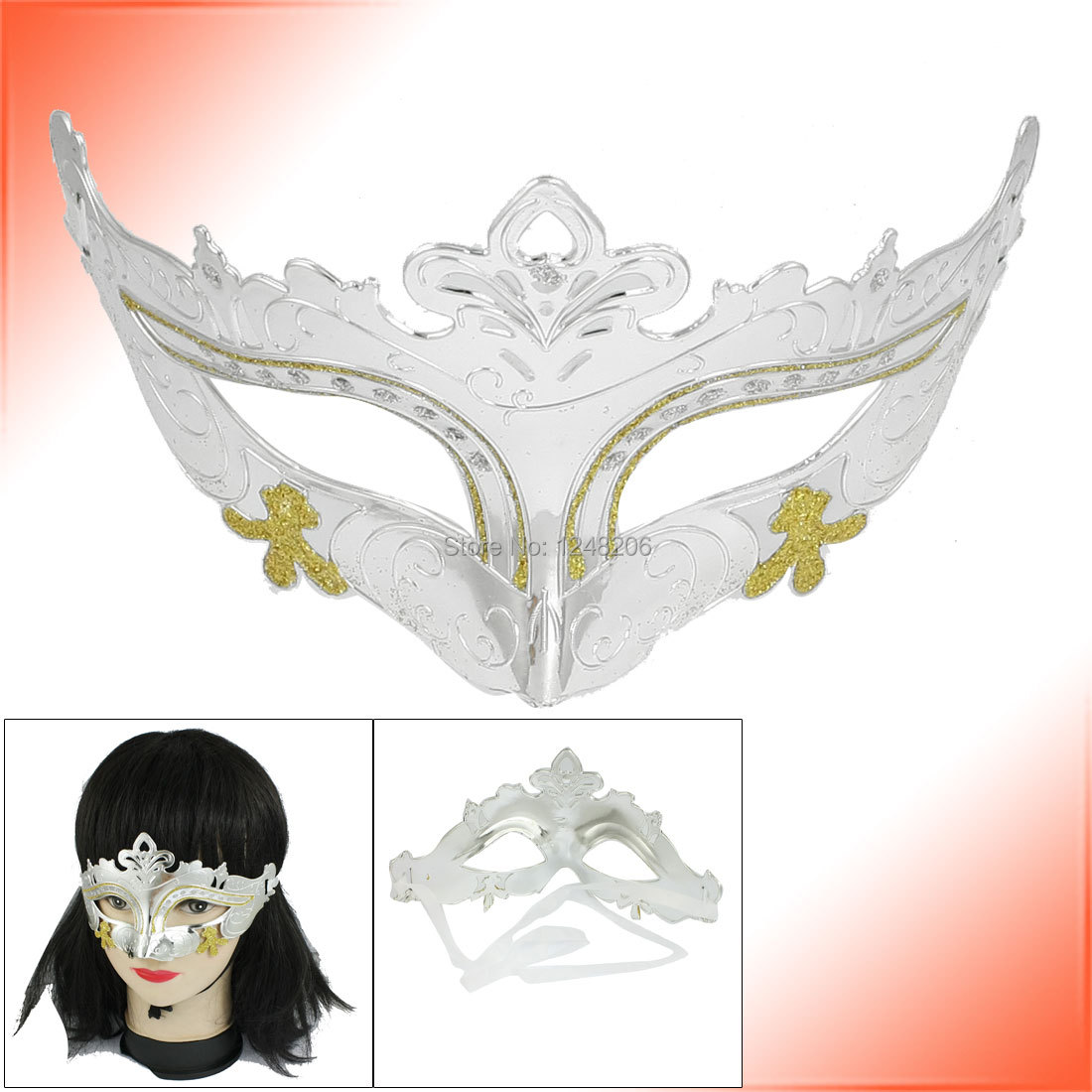 2 Pcs Self Tie Ribbon Silver Tone Carnival Party Costume Crown Mask Holidy(China (Mainland))