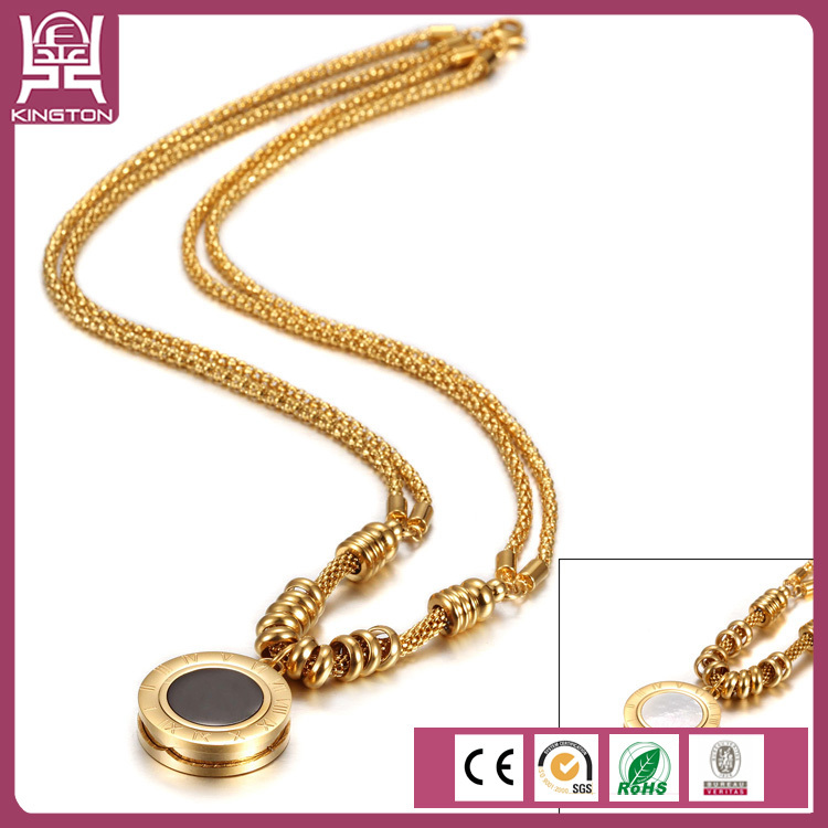 double chain twofaced fake gold jewelry coin necklace(China (Mainland))
