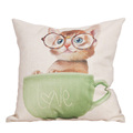 45CM 45CM Comfortable Cartoon Seat Cover Cotton Linen Printed 5 Cute Cat Pattern Cushion Cover Free