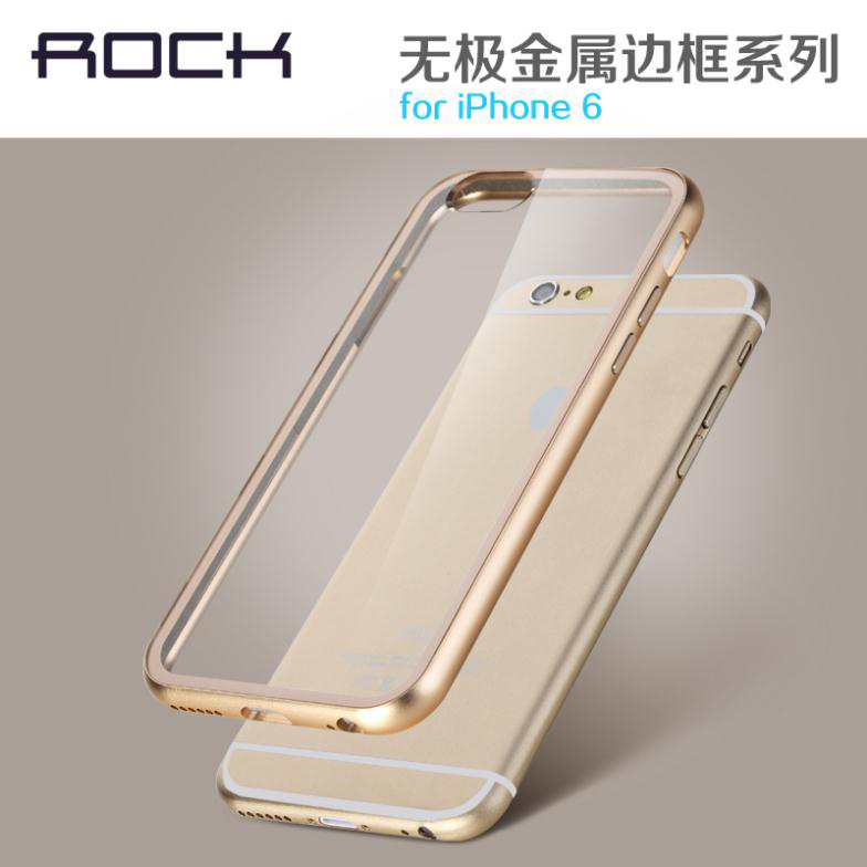 With USA Warehouse For iPhone6 Case Fundas Rock Luxury Aluminum Metal Bumper+Clear Back Cover For Apple iPhone 6 4.7 Phone Case(China (Mainland))