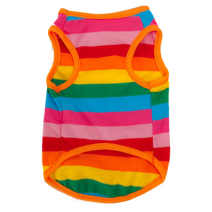 Newly Design New Rainbow Stripe Pet Shirt Vest Dog Clothes Puppy Cat Apparel Costume Clothing For Teddy Chihuahua Summer(China (Mainland))