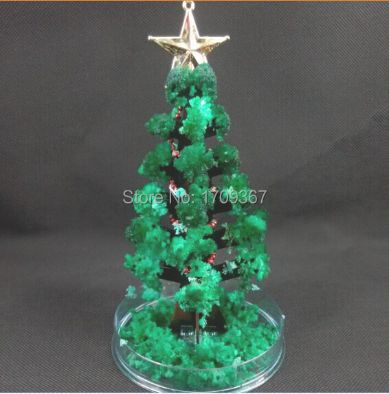 Free shipping Hot sale 2015 GCB-05-P 14*6.5cm Green Big DIY Magic Christmas growing paper tree/magical tree 2pcs/lot(China (Mainland))