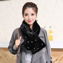 2016 fashion brand designer Scarf women pearl pure imitation rabbit fur scarf autumn and winter warm collar scarves(China (Mainland))