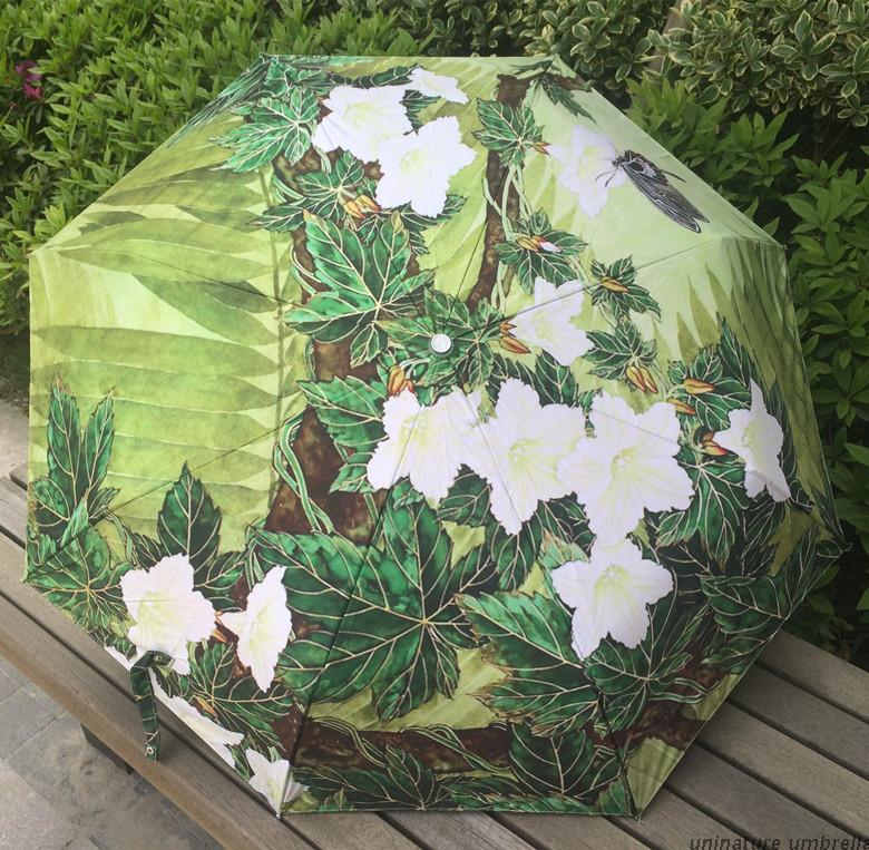 Famous Art Painting umbrella green plant umbrella three fold umbrella rain women femal umbrellas(China (Mainland))