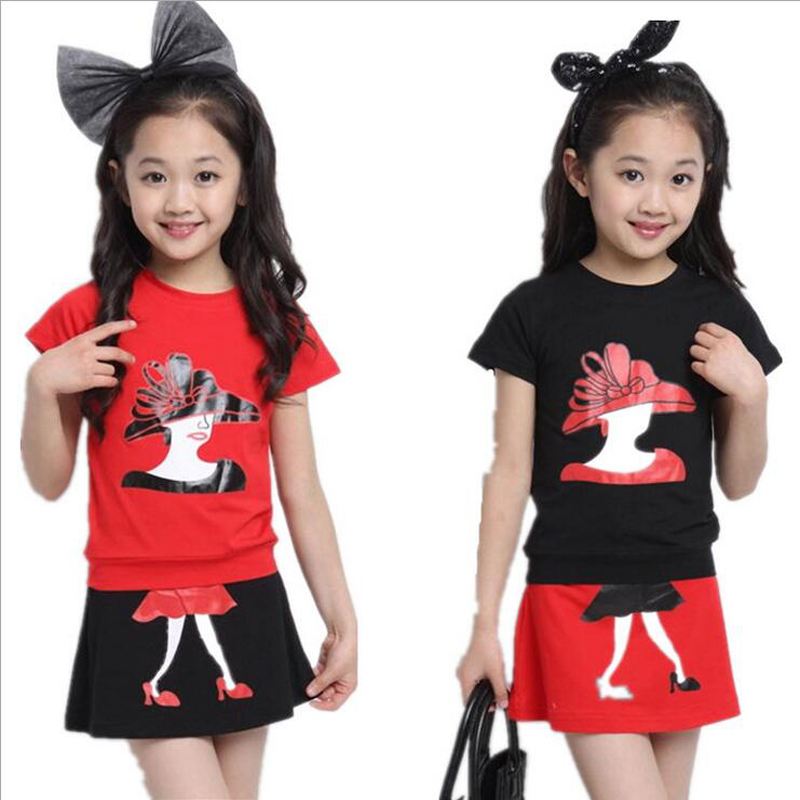 2016 Summer new products listed girl embroidery avatars clothing group T-shirt + dresses children cotton clothes(China (Mainland))