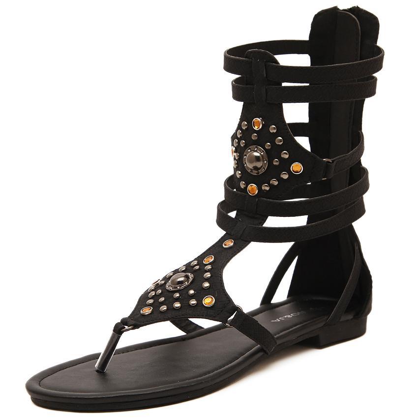 Women sandal 2015 Fashion Sexy Flip Flops Snakeskin Gladiator Sandals Women Shoes with rivets rhinestone zapatos mujer Flats(China (Mainland))