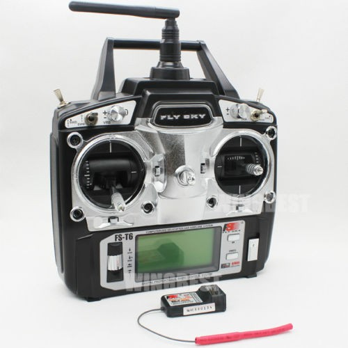 FlySky 2.4G 6CH Channel FS-T6 Transmitter + Receiver Radio System Distant Controller Mode1/2 LCD W/ Rx RC Helicopter Multirotor