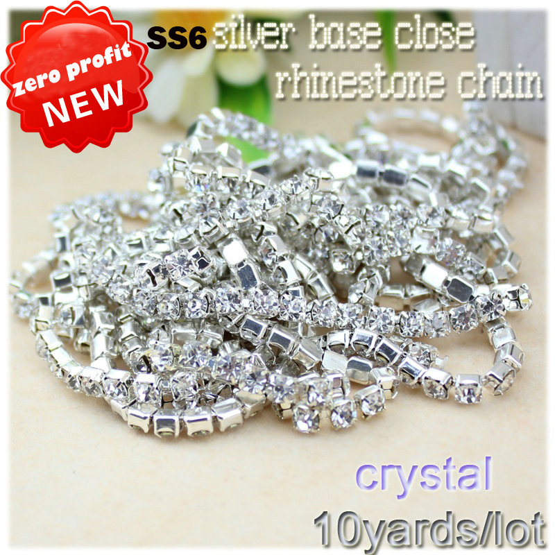 Hot! 10Yards SS6 2MM crystal Rhinestone Chain DIY Sew On Silver Base Density Trim Strass Crystal Cup Chains For Dress wholesale!(China (Mainland))