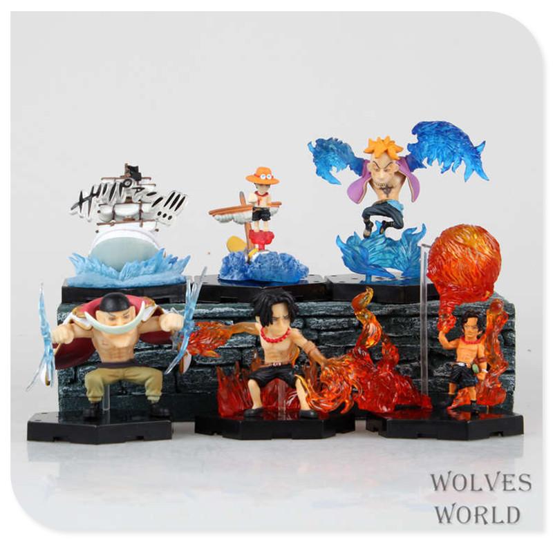 Japan One Piece New World Anime Figuarts Zero Portgas D Ace 6pcs Action Figure PVC Boxed Model Limited Edition 0180(China (Mainland))