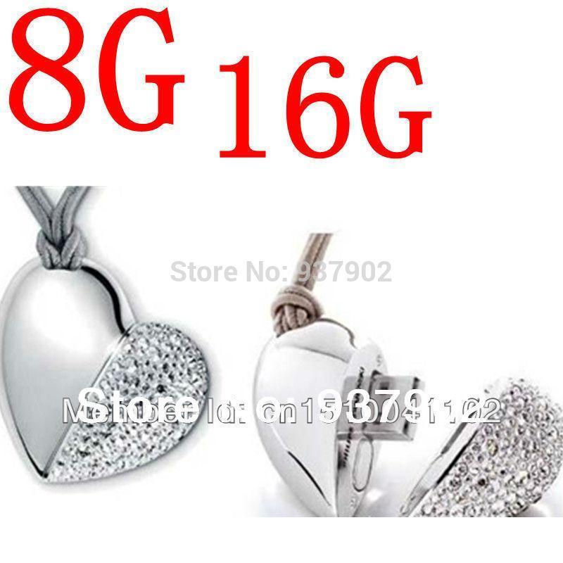 100% real capacity heart necklace Jewelry Heart shape USB Drive Flash16GB Pen Driver Gift USB Flash Disk S22 DD usb creativo(China (Mainland))