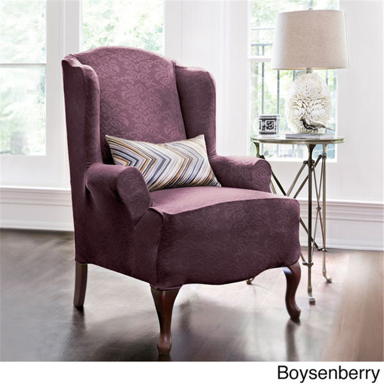 Sure Fit Stretch Pique Shorty Studio Sized Wing Chair