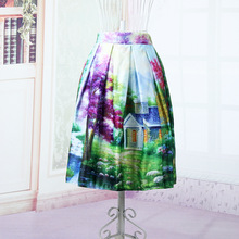 New Satin Women's Summer Fashion Skirt Mountain Cabin Floral Printed A-Line Skirt Elastic High Waist Midi Tutu Knee Length Skirt