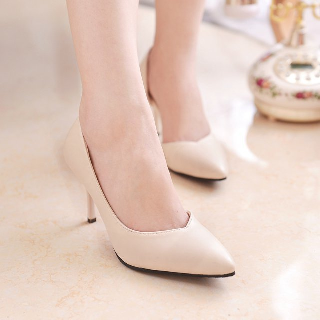 Women Elegant Pumps Casual Thin Mid Heels Simple Pumps Sexy Ladies Popular Outdoor Casual Shoes Women Classical Sweet Shoes New(China (Mainland))