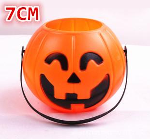 5pcs Halloween pumpkins Bar decoration items Portable 7cm pumpkin barrels Pumpkin jar Halloween candy jar GJ634(China (Mainland))
