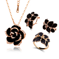 Fashion Rose Flower Enamel Jewelry Set 18k Gold Plated Black Painting Jewelry Sets for women 82606