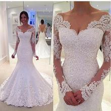 Buy 2016 New Long Sleeve White Mermaid Lace Wedding Dresses Sexy V-neck Beaded Applique Wedding Bride Dress vestido de noiva for $190.93 in AliExpress store