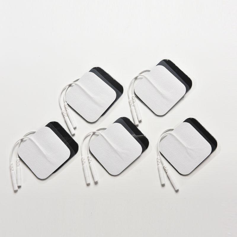 Silicone Gel Electrode Pads Tens Electrodes Digital Therapy Machine Massage 2mm Plug with 5x5cm Nerve Stimulator 10 Pcs/Set(China (Mainland))
