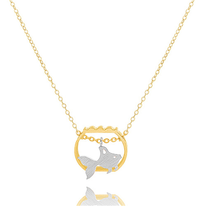 10pcs/lot 2016 New Stainless Steel Minimalist Jewelry Silver Gold Plated Bijoux Cute GoldFish In A Fishbowl Statement Necklace(China (Mainland))