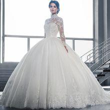 Custom made 2016 Long Sleeve Muslim Wedding Dress High Neck with Lace Applique Court Train Ball Gown vestidos de novia CO158(China (Mainland))