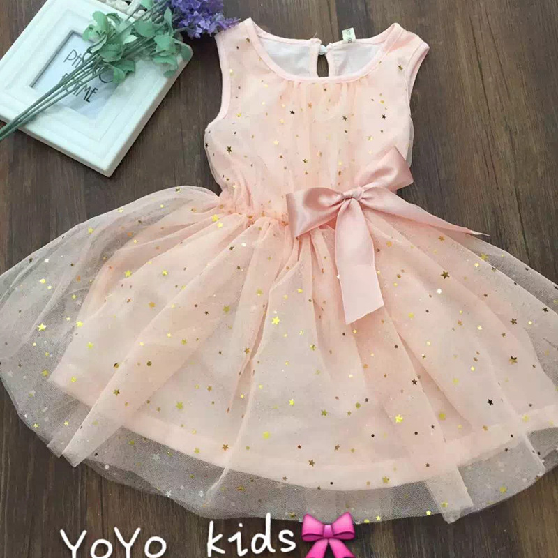 For Toddler Girls Sweet Noble Style Pretty Girl Princess Dress With Golden stars Bowknot,Cotton +Yarn Lace Ruffle Baby Clothing(China (Mainland))