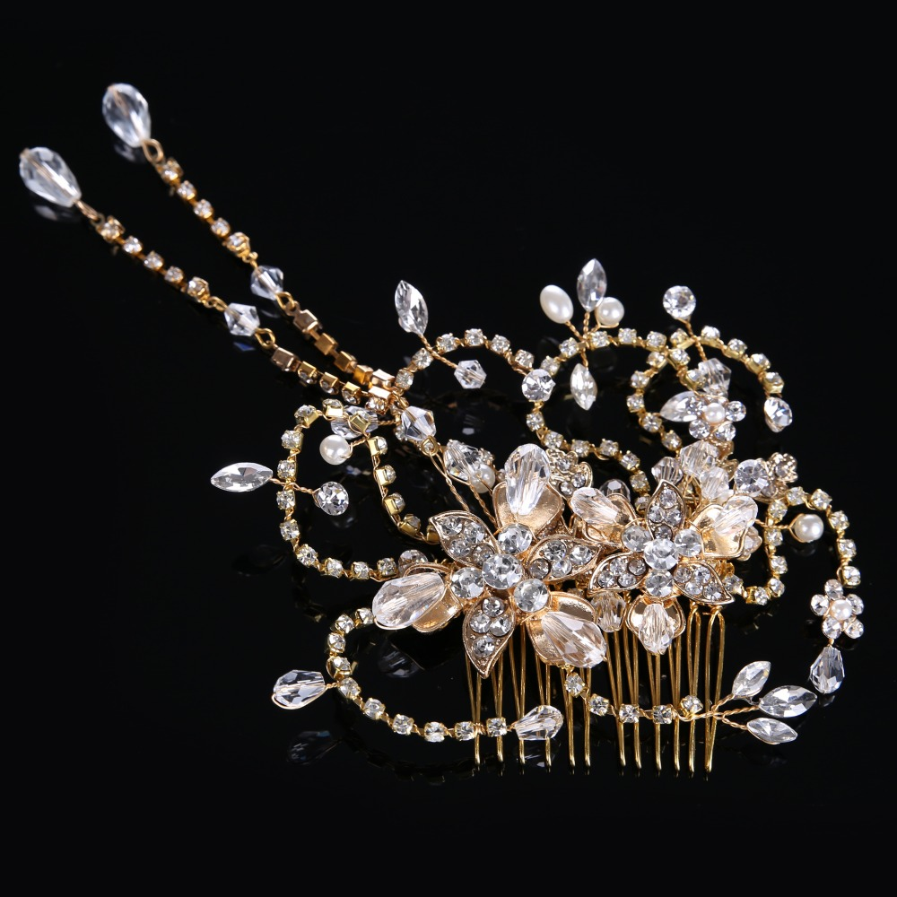 Newest Luxury Classic Crystal Glass Hairwear for Women Crystal beads Female Hairpin alloy Jewelry Pearl Hair Stick CY161117-31(China (Mainland))