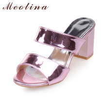 Buy Meotina Women Sandals Summer Ladies Slides Bling Women Slippers Open Toe High Heels Sandals Sliver Gold Purple Size 10 11 44 45 for $19.99 in AliExpress store