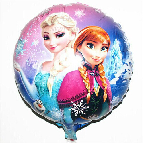 Elsa Anna Print Theme Round Foil Balloon, 18inch Helium Foil Cartoon Birthday Kids Toys(China (Mainland))