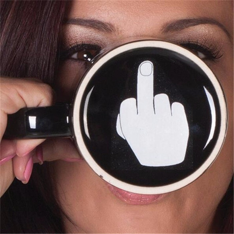 2017New Creative Have a Nice Day Coffee Mug Middle Finger Funny Cup for Coffee Milk Tea Cups Novelty Gifts 10oz(China (Mainland))