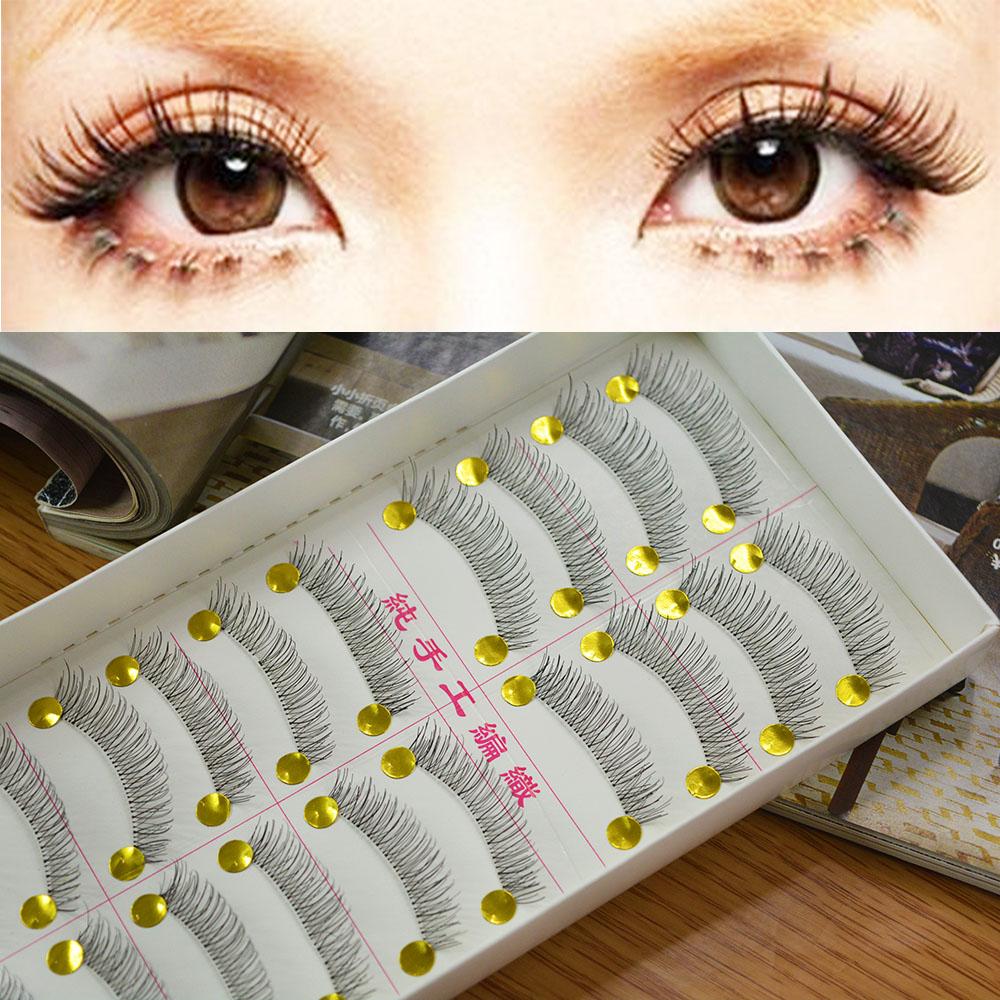 Hot Sale! 10 Pair Natural Lower Bottom False Eyelashes Clear Band Makeup Long Eye Lash 217 Drop Shipping(China (Mainland))