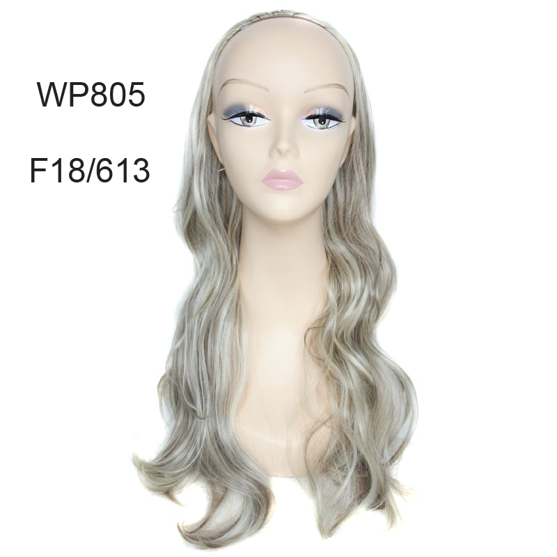 WP805 New arrival Fashion Sexy cheap long wavy Wig Cosplay Party half Wig no Bangs Hairpiece not full lace front wig free cap<br><br>Aliexpress