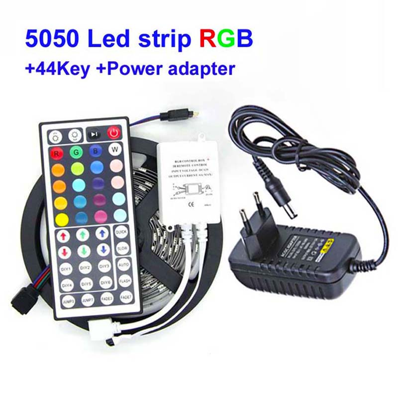 High Brightness 5M RGB LED Strip SMD 5050 30LED/M Flexible Non Waterproof 150 LED 12V 3A Power Adapter 44key Remote Controller(China (Mainland))