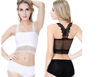 2016 Popular Style Women Lace Butterfly Crop Top Vest Camisole Bra Tank Anti-Wardrobe Malfunction