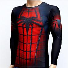 Марка фитнес мужчины 3D сжатия супермен капитан америка спортивный зал с длинным рукавом майка работает футболка колготки одежда