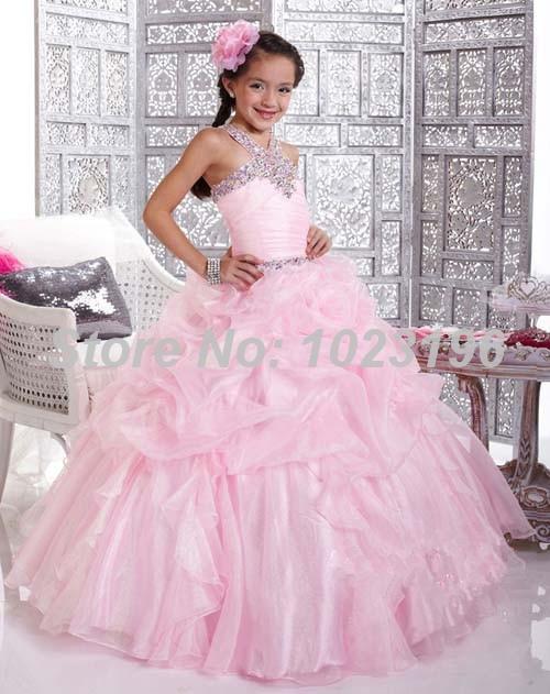 Великолепная холтер бисером принцесса розовый бальное платье девушки театрализованное платье девушки формальное партия платье девушки блеск платья