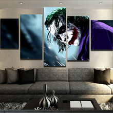 Buy 5 Pieces/set Canvas art Prints Serious Dark Knight Joker canvas painting poster home decor wall art living room for $10.41 in AliExpress store