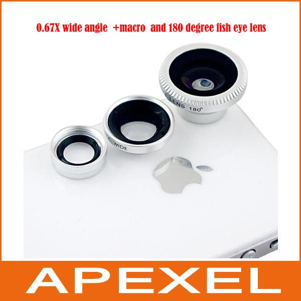 5pcs Detachable 0.67X Wide Angle Lens+Macro lens+Fisheye 3 in 1 lens,magnetic fisheye effect Lens for smartphone  CL-1-2