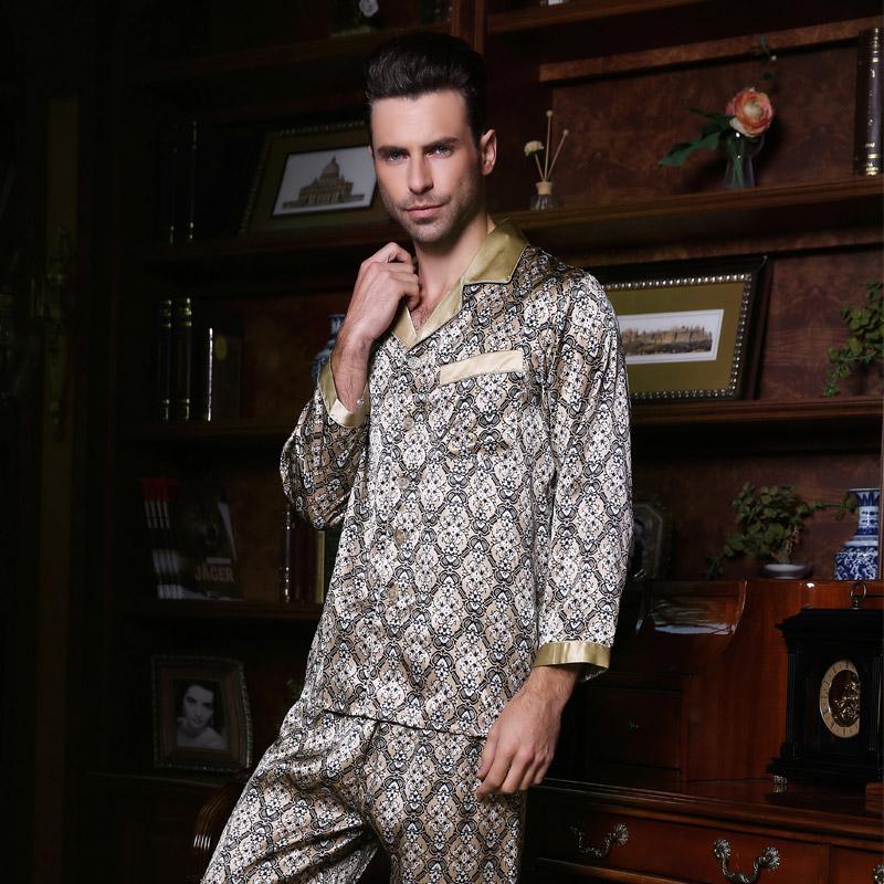 Wholesales Pure Silk Satin Sleepwear Sale Long-Sleeve Men Pyjamas Pajama Sets Pants 100% Natural Silk Pajamas Set YF2515(China (Mainland))