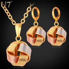U7 Necklace Sets Women's Gift  Wholesale Mix Rose Gold/ 18K Gold/Platinum Plated Unique Ball Necklace Earrings Jewelry Sets S613(China (Mainland))